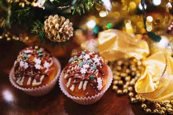 receta de cupcake de vainilla navideños
